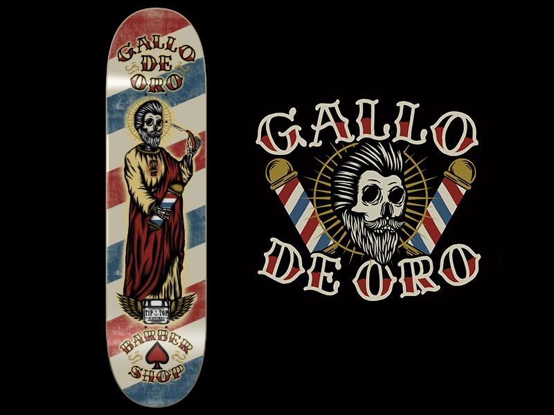 """GALLO DE ORO"" BARBER SHOP SKATEBOARD traditional illustration vintage chile mexico saint pompadour pomade beard barber shop skateboard"