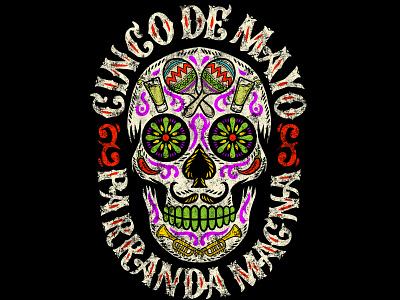 PARRANDA MAGNA parranda chillli music maracas tequila sugarskull design mexico art illustration vintage traditional skull