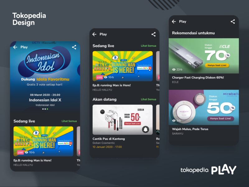 Tokopedia Play  - Channel List channel list live video entertainment live streaming live streaming stream dark ui tokopedia video live stream dark mode dark iphone ux mobile ios clean app ui
