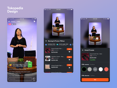 Tokopedia Play - Live Room Dark Mode ui app clean ios mobile ux iphone dark dark mode livestream video tokopedia dark ui stream streaming live live streaming entertaiment live video channel list