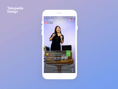 Tokopedia Play - Live Room animation interaction live video content entertaiment live stream live streaming live streaming stream tokopedia video livestream iphone ux mobile ios clean app ui