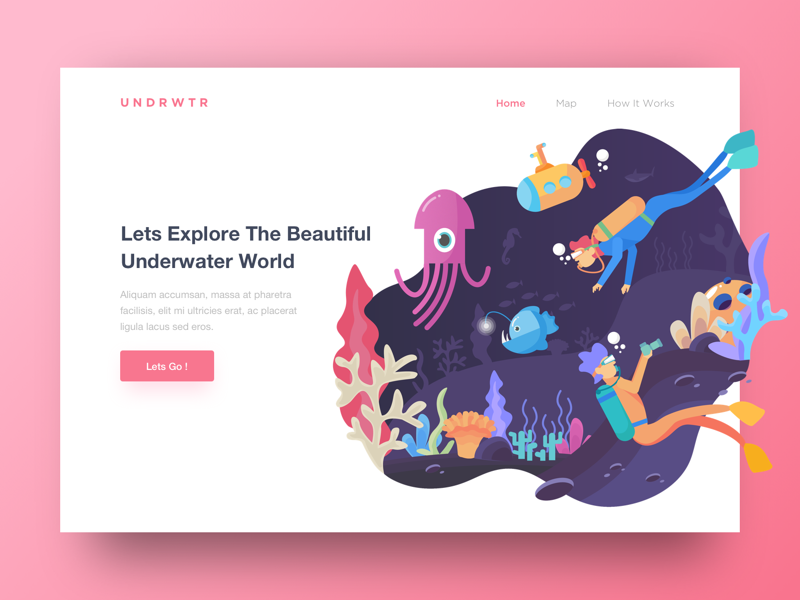 Header Underwater World sea vector diving octopus hero website underwater landing page header illustration