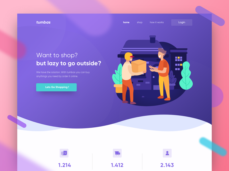 tumbas Landing Page Exploration package home page ui shopping courier landing page illustration delivery service shipment