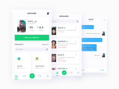 App for freelancer mobile ios ios11 iphone iphone 8 app message freelance project ui kit