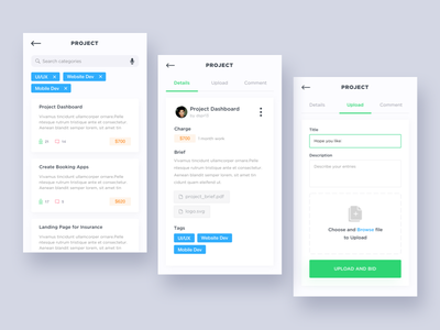 App for freelancer mobile ios ios11 iphone iphone 8 app clean freelance project ui kit