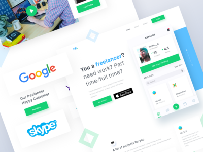 App for freelancer Landing Page mobile ios ios11 iphone header app clean freelance project landing page