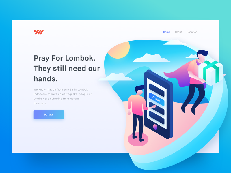 Charity For Lombok 🙏🏻 illustration header landing page indonesia help hero lombok donate vector charity
