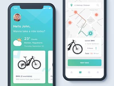 Apps Sharing Bike Exploration ui app clean ios ux mobile iphone ui kit ios11 iphone x bike rent navigation parking concept
