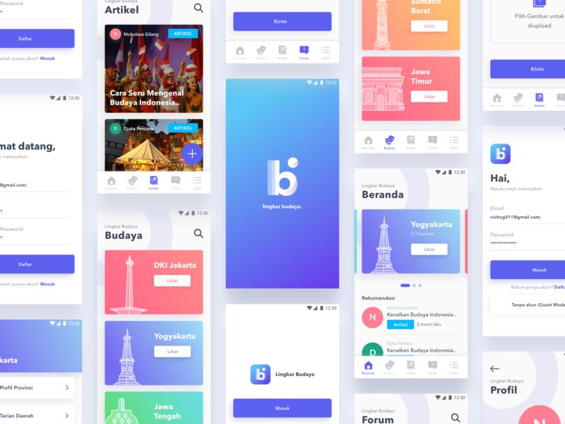 Lingkar Budaya App education indonesia ux ui card culture design ui kit mobile app
