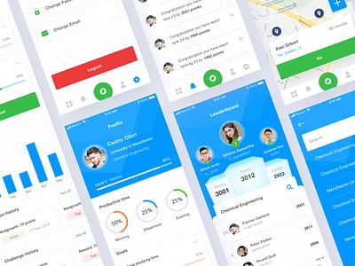 Student Leaderboard App map student leaderboard dashboard iphone ui kit mobile ux ios clean app ui