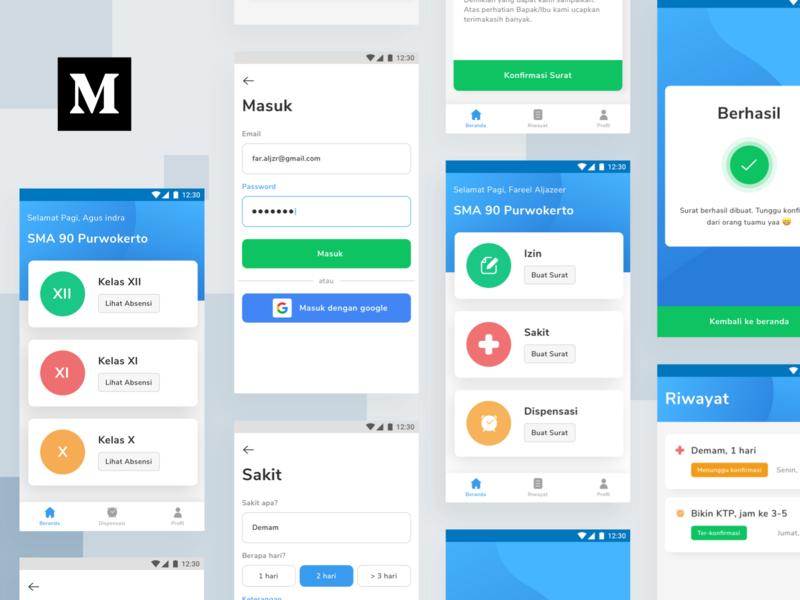 Case Study : School Permission App student school app school permission design ui kit mobile ux clean app ui