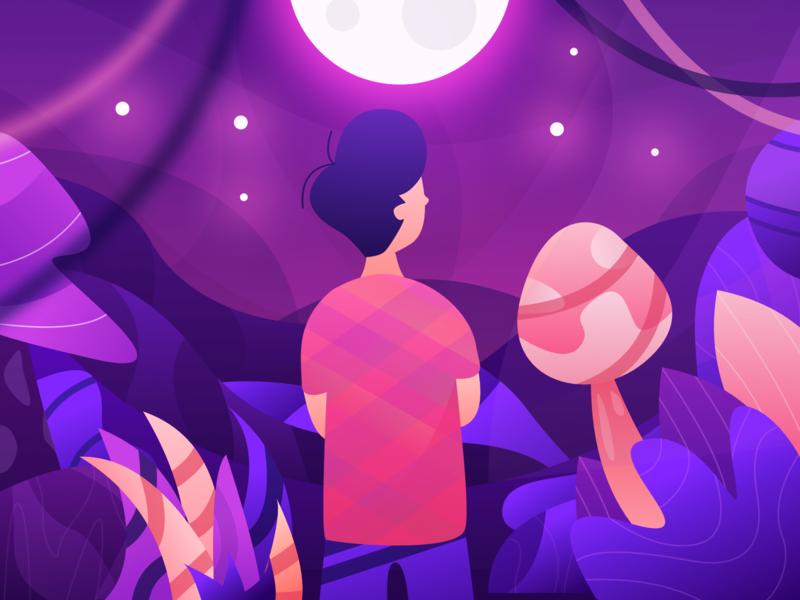A Night Illustration jungle gradient stars star moonlight dark plant scenary moon night vector illustration