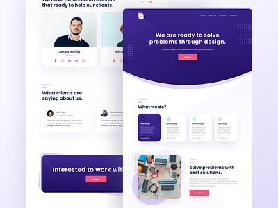 Design Studio Landing Page design purple product design studio website web header gradient landing page ui