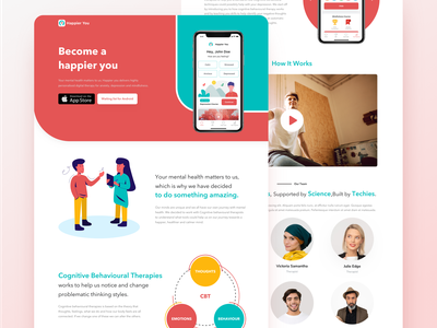 Happier You Website landing page website web ux onboarding depression mindfulness relax illustration badge achievement stress mental health iphone x mobile ios clean app ui