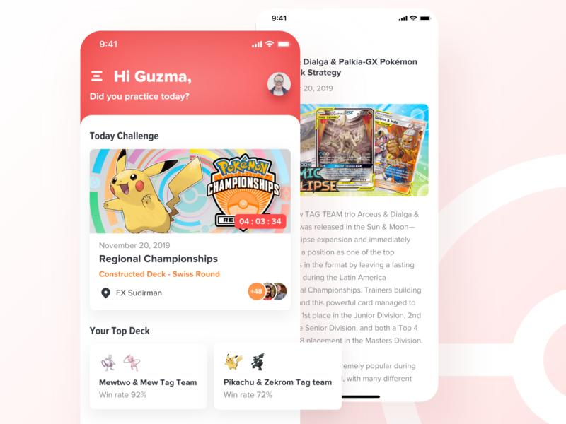 Pokemon TCG App game tournament card pokemon go deck news card game tcg pokemon iphone ui kit mobile ios app ui