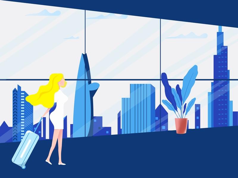 Charming Lady: Illustration cityscape travel girl character design illustration proccreate