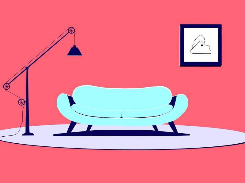 Sofa lamp flat design vector proccreate illustration