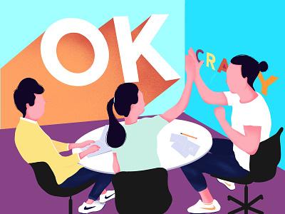 Teamwork work flatdesign character proccreate illustration