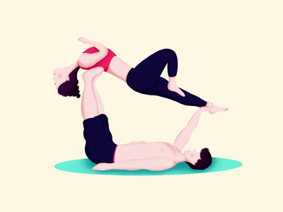 Yoga boys girls flat yoga character design minimal illustration proccreate