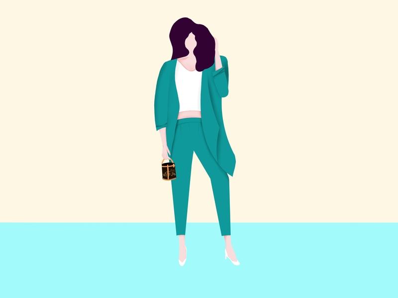 Fashion Girl pose girl flat proccreate illustration