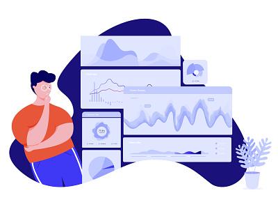 Data Analysis minimal statistic data character app web flat ux ui proccreate illustration