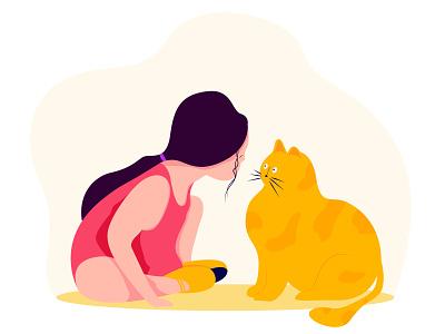 Sweet Girl & Cat cat girl web flat minimal ux ui illustration