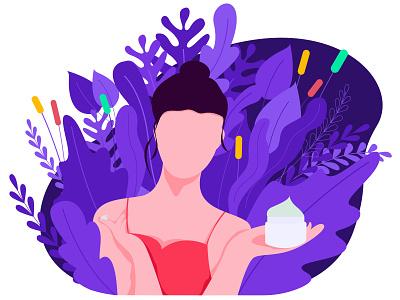 Beauty proccreate app character ux ui beauty web illustration flat