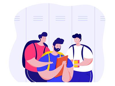 Education students character app web minimal flat ux ui proccreate illustration