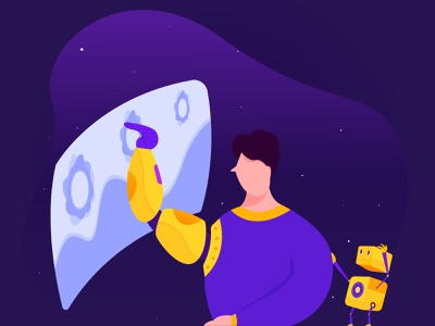 Artificial Intelligence robot artificial intelligence character app web flat ux ui proccreate illustration