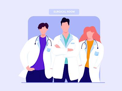 Doctor minimal flat character proccreate illustration ux ui web app