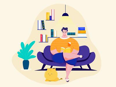 Read Book illustration character minimal app web flat ux ui
