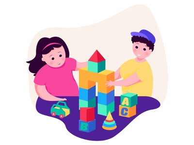 Kids Playing children toys character minimal app web flat ux ui proccreate illustration