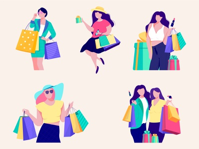S H O P P I N G girls fashion shopping character app web proccreate illustration flat ux ui