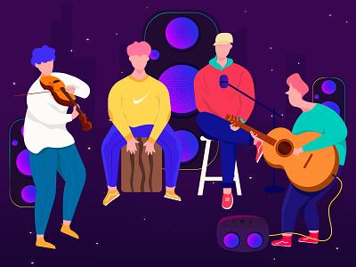 D E N  B A N D band boy musican music people vector character minimal app web flat ux ui proccreate illustration