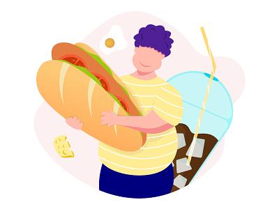 B A N H     M I boy bread coffee cheese egg character minimal app web flat ux ui proccreate illustration