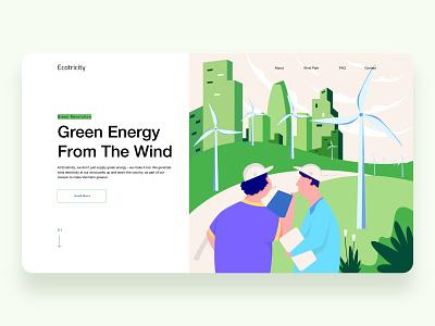 Green Energy windmill wind energy green city people character minimal flat app web ui proccreate illustration