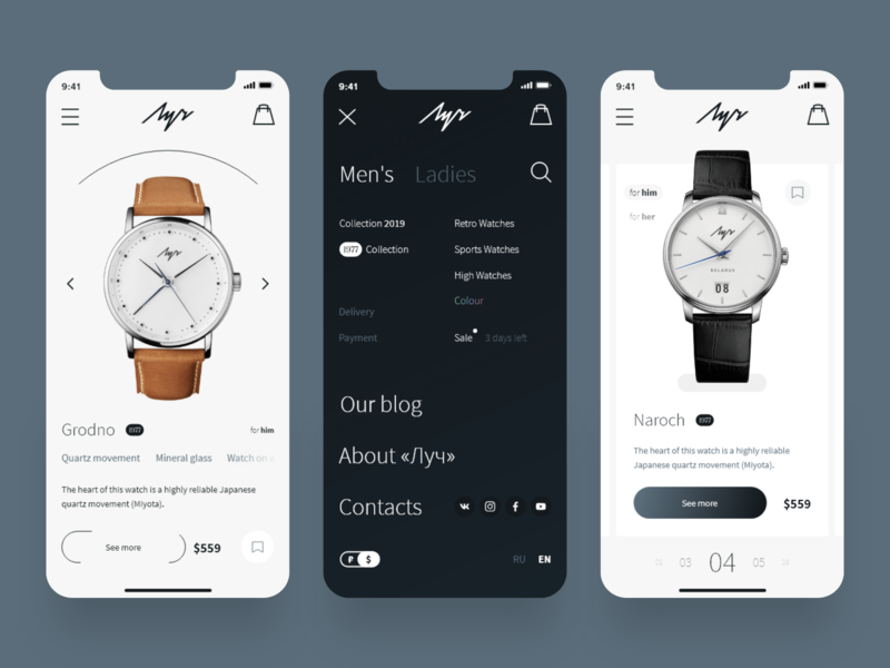 Watch Store | iPhone X Shots interaction product card card menu bar menu shop shadow flat typogaphy black clean white watch ux ios iphone web minimal ui store