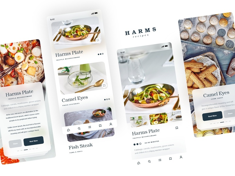 Harms | Recipe App ui minimal ux clean card design typography art food ios food app recipe recipe app fit fitness recipes taste yummy mobile app ingredients