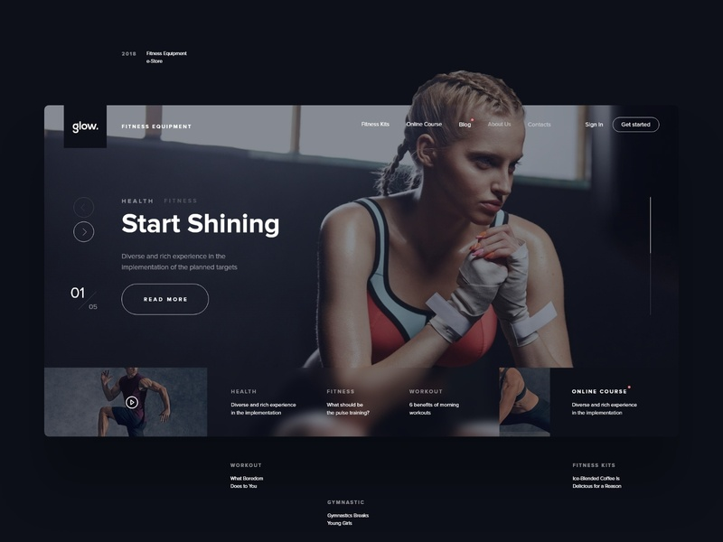 glow. | Fintess Website flat modern type sport fit fitness dark clean store interaction black  white typography design web black minimal ux ui