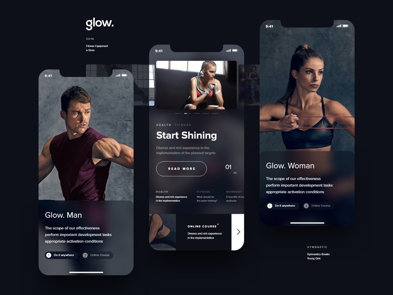 glow. | Fintess Website ios mobie ui ux minimal black web design typography black  white interaction store clean dark fitness fit sport type modern flat