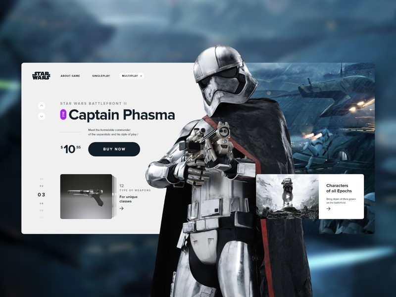 Captain Phasma DLC | Star Wars™ Battlefront™ II ea space game art game battlefront star wars star flat black  white store card typography design web clean ux minimal ui