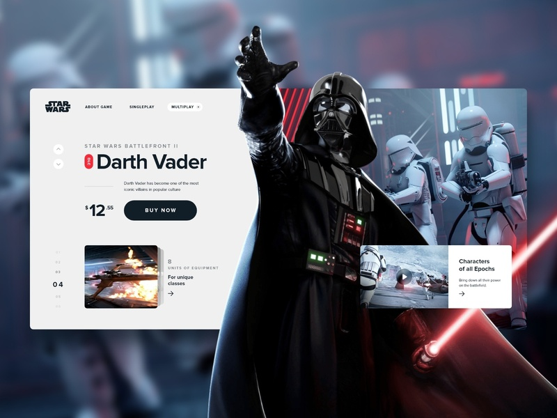 Darth Vader DLC | Star Wars™ Battlefront™ II ui minimal ux clean web design typography card store black  white flat star star wars battlefront game game art space ea