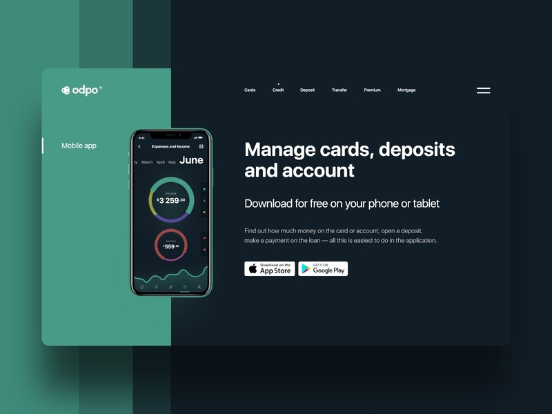 odpo | Bank flat dark finance app bank app bank mobile app ios art typography design card clean ux minimal ui clean app