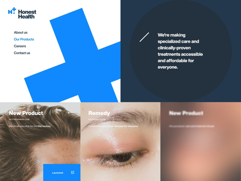 Honest Health woman man product health blue black swiss white typography web clean ux minimal ui