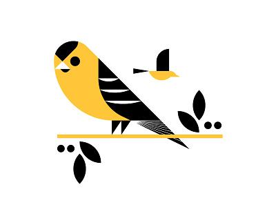 State Bird Series: American Goldfinch iowa goldfinch geometric art geometric design shape elements icon birds sitting bird flying bird black yellow tree bird vector logos brand illustration simple color design
