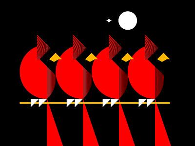 Northern Cardinal birds logo night illustration bird illustration geometric art geometric illustration simple illustration geometric start moon night bird red bird cardnial icon simple illustration design logo