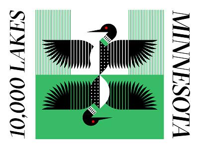Bird Series: Common Loon black  white reflection feathers polkadot stripes pattern red black water lakes minnesota loon bird icon simple lines green illustration design logo