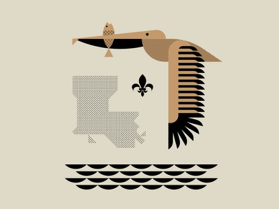 Pelican Illustration flying bird bird illustration geometric design geometric art geometry simple vector black flying water louisiana fish bird pelican brown illustration design