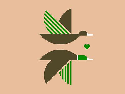 Duck Love ducks birds bird vector wildlife heart animal logos logo branding simple shape illustration outdoor flying duck
