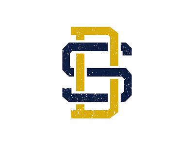 SD Monogram south dakota blue yellow type monogram retro vintage logo